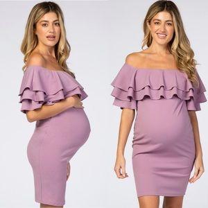 Pinkblush Violet Ruffle Shoulder Maternity Dress
